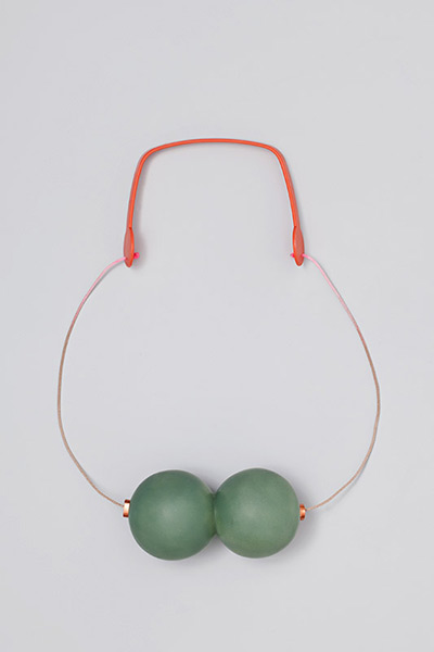 """<span class=""""prodinfo"""">'contact' — necklace 2012<br /> <em>Material</em> silver, copper, silk thread, pigments, found plastic  <em>Length</em> 60 cm</span><a href=""""mailto:jantje@jantjefleischhut.com?subject=JANTJE%20FLEISCHHUT%20/%20Online%20Collection&body="""" class=""""buy"""" title=""""You need a Email-Client to order products.""""></a>"""