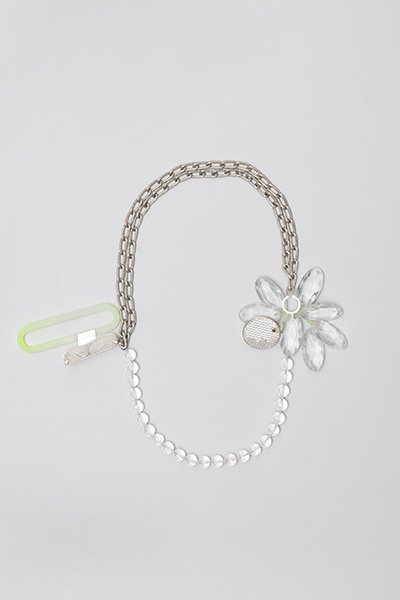 """<span class=""""prodinfo"""">'glitter' — necklace 2010/13<br /> <em>Material</em> silver, found plastic, rock crystal, aluminium, resin, glass, quartz  <em>Length</em> 70 cm</span><a href=""""mailto:jantje@jantjefleischhut.com?subject=JANTJE%20FLEISCHHUT%20/%20Online%20Collection&body="""" class=""""buy"""" title=""""You need a Email-Client to order products.""""></a>"""