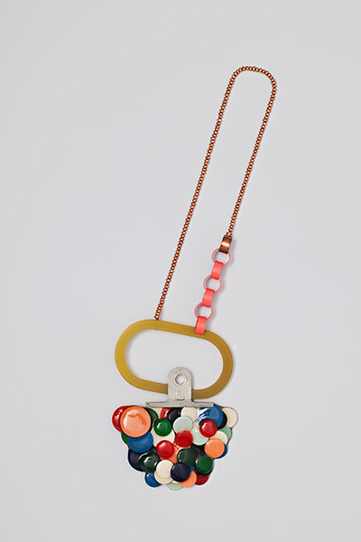 """<span class=""""prodinfo"""">'To be on Orbit' — necklace 2011<br /> <em>Material</em> silver, copper, steal, pearls, found plastic, resin  <em>Length</em> 60 mm</span><a href=""""mailto:jantje@jantjefleischhut.com?subject=JANTJE%20FLEISCHHUT%20/%20Online%20Collection&body="""" class=""""buy"""" title=""""You need a Email-Client to order products.""""></a>"""